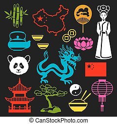 China icons set. Chinese symbols and objects