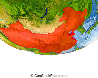 China in red on Earth model