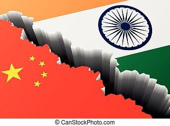 china, india, profundo, grieta