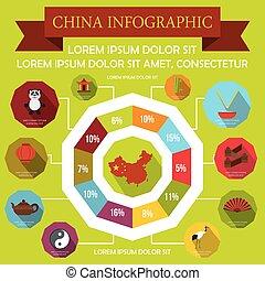 china, infographic, elementos, plano, estilo