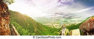 china., ivrig, wall., panorama utsikt