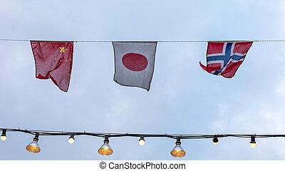 China Japan Flags