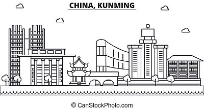 China, Kunming architecture line skyline illustration. Linear vector cityscape with famous landmarks, city sights, design icons. Landscape wtih editable strokes