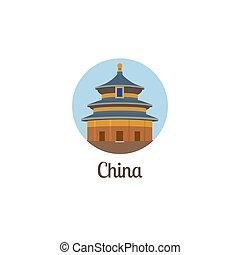 China landmark isolated round icon