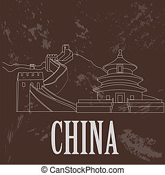 China landmarks. Retro styled image. Vector illustration