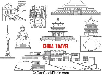 China travel landmarks with the Great Wall, Forbidden City, Terracotta army, Summer palace, Temple of Heaven, Potala palace, oriental pearl tower and Buddha statue. Thin line icons for travel theme