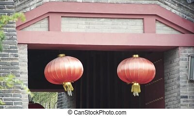 China lantern Chinese festivals & ancient city gate.