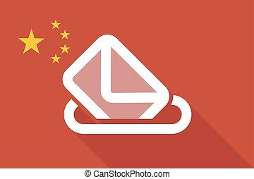 china, largo, sombra, bandera, con, un, urna electoral