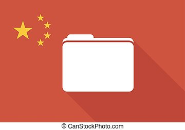 China long shadow flag with a folder