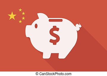 China long shadow flag with a piggy bank