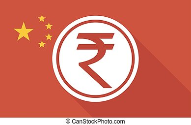 China long shadow flag with   a rupee coin icon