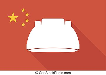 China long shadow flag with a work helmet