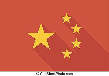 china, longo, sombra, bandeira, com, a, cinco, estrelas, símbolo