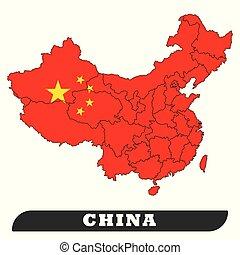 China Map and China Flag