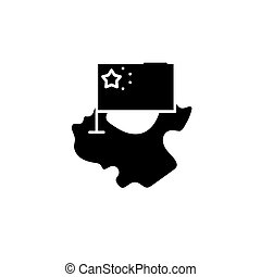 China map and flag black icon concept. China map and flag flat vector symbol, sign, illustration.