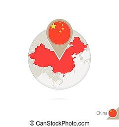 China map and flag in circle. Map of China, China flag pin. Map of China in the style of the globe.