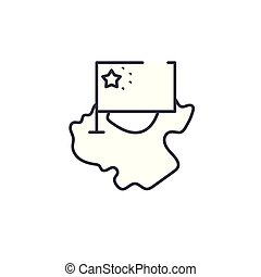 China map and flag linear icon concept. China map and flag line vector sign, symbol, illustration.
