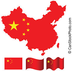 China map and flag of China