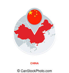 China map and flag, vector map icon with highlighted China