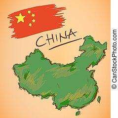 China Map and National Flag Vector