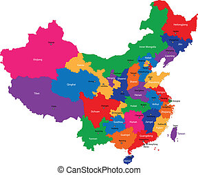 China map - Color map of the regions and divisions of China