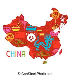 China map design. Chinese symbols and objects