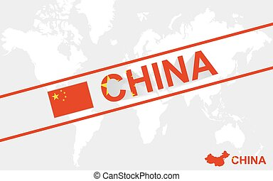 China map flag and text illustration, on world map