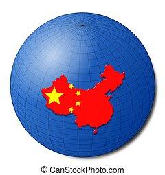 China map flag on abstract globe illustration