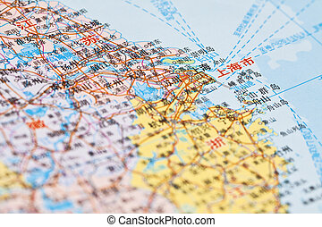 China map, focus on Shanghai