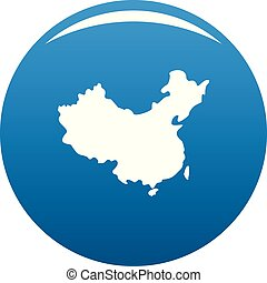China map icon blue vector