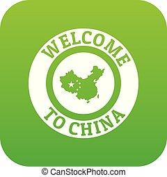 China map icon green vector
