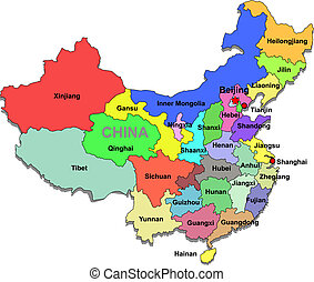 China map over white