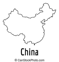 China map thin line simple