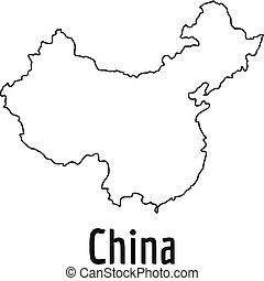 World map with country borders thin white outline on black china map thin line vector simple gumiabroncs Choice Image