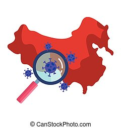 china map with covid19 particles and magnifying glass