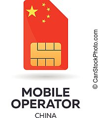 China mobile operator. SIM card with flag. Vector illustration.