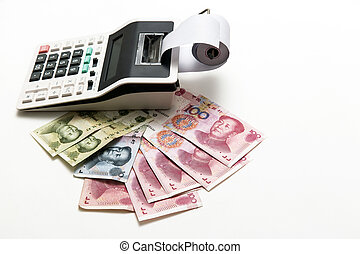 China money bills and calculator on background