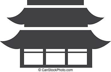 china, monumento, ícone, em, pretas, ligado, um, branca, experiência., vetorial, ilustração