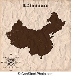 China old map with grunge and crumpled paper. Vector illustration