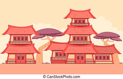 China Old Town. Flat design. Vector illustration
