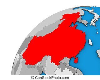 China on 3D globe