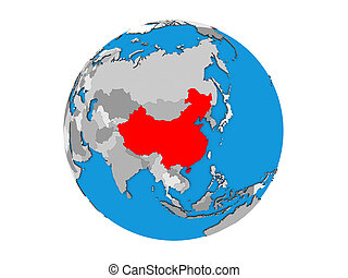 China on 3D globe isolated