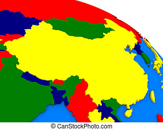 China on colorful 3D globe