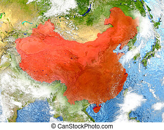 China on map with clouds