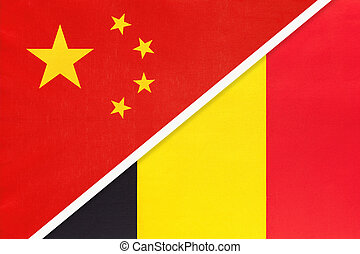 People's Republic of China or PRC vs Kingdom of Belgium national flag from textile. Relationship, partnership and economic between two asian and european countries.