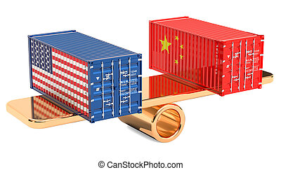 China or USA trade and tariffs balance concept, 3D rendering