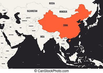 China orange marked in political map of Southern Asia. Vector illustration