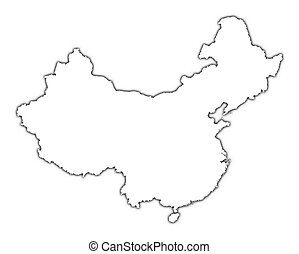 China outline map with shadow. Detailed, Mercator projection.