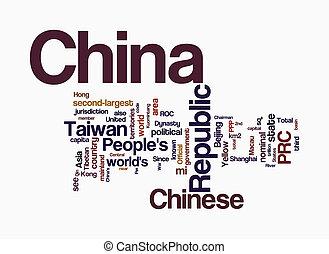 china, palavra, nuvens