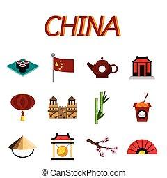 china, plano, iconos, conjunto
